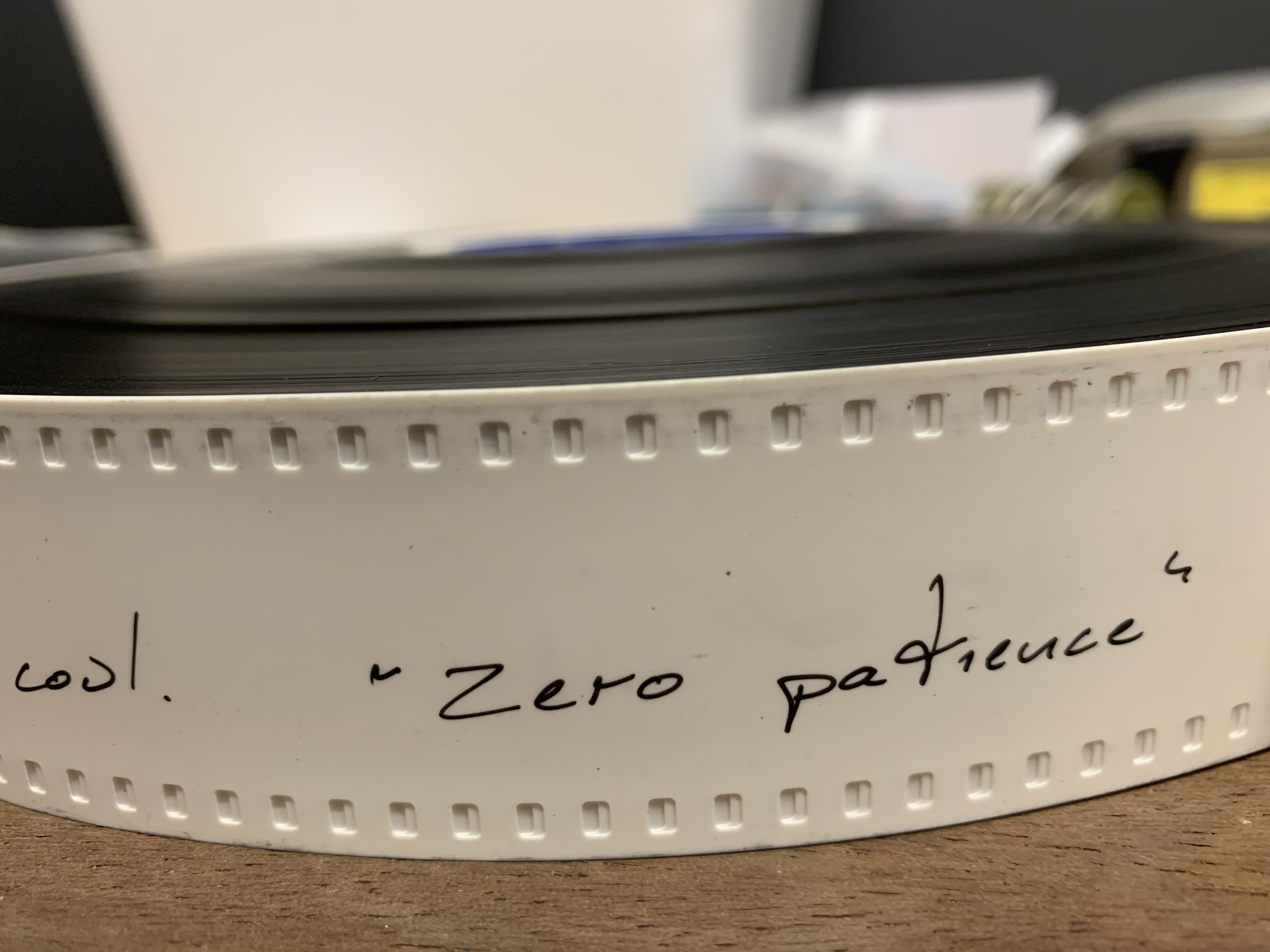 One of six 35mm reels of Zero Patience by John Greyson.