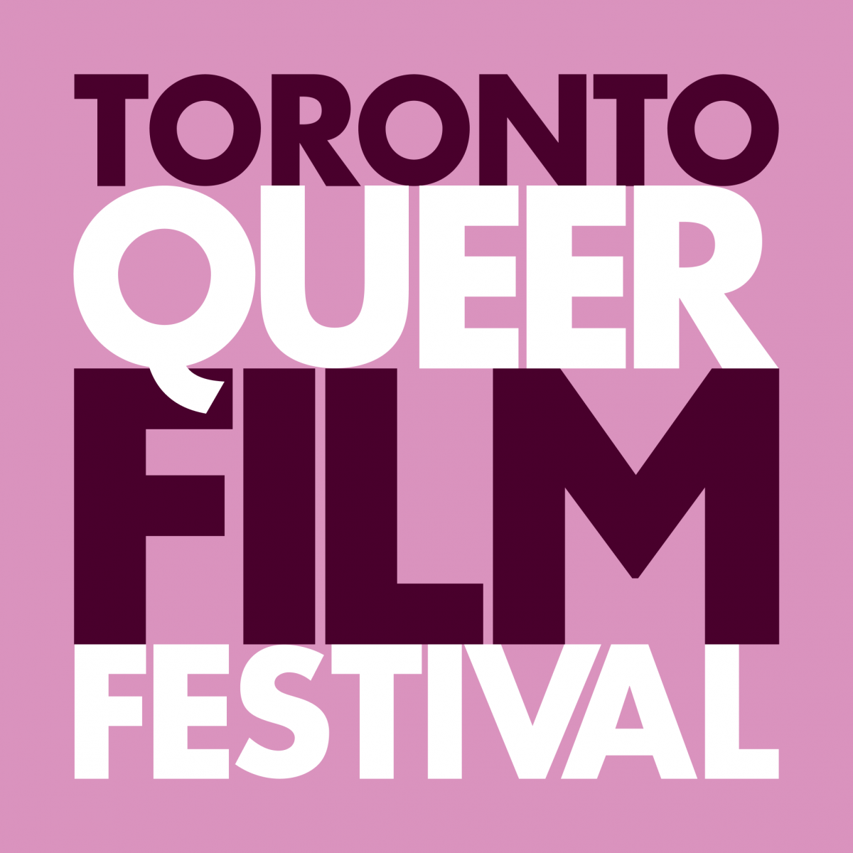 This image is the Toronto Queer Film Festival Logo. The logo is set on a pink background.
