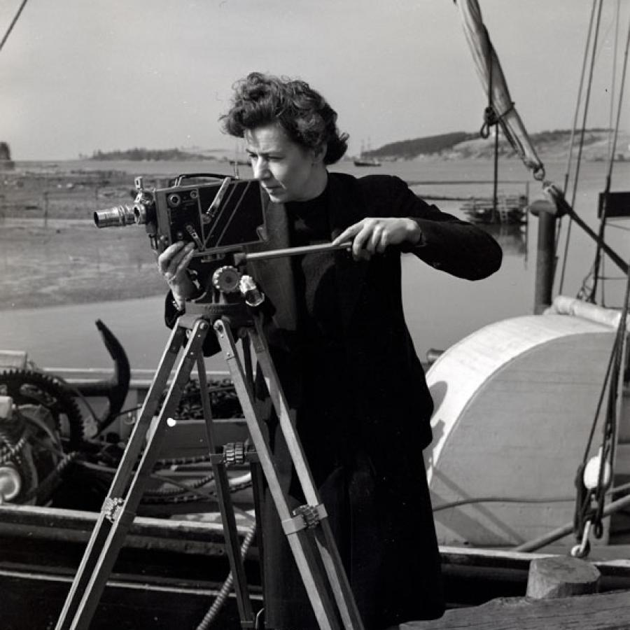 """Margaret Perry and film camera."" Nova Scotia Information Service Nova Scotia Archives no. NSIS 1200"
