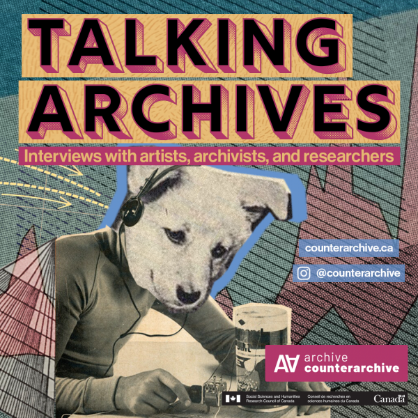 Talking Archives logo. A dog with headphones is listening to the radio. In the background there is information about talking archives.